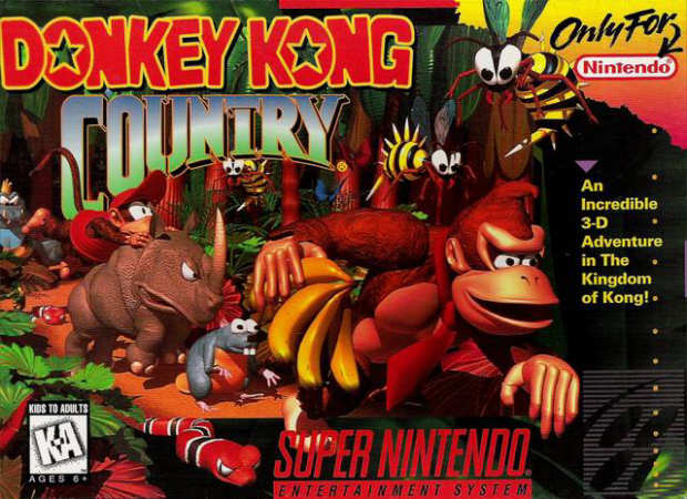 Donkey Kong Country 1 box artwork SNES 16-bit high res