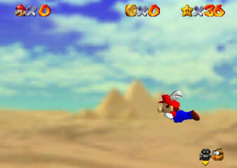 Super Mario 64 Screenshot - Mario Flies the Skies with his Wing Cap