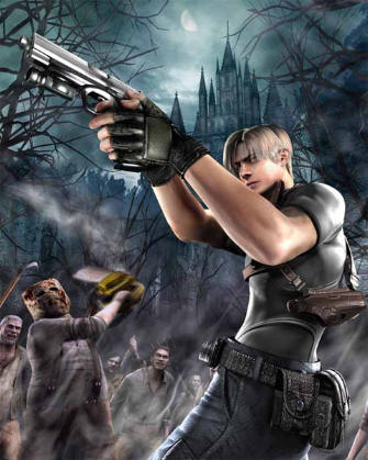 Resident Evil 4 Wii Art - Leon Being Chased By Chainsaw Guy
