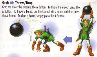 Link Bomb Toss Artwork Scan (Zelda: Ocarina of Time)