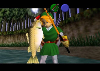 Link catches a fish (Zelda: Ocarina of Time Screenshot)