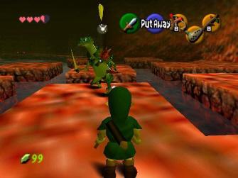 Link fights Lizalfos in a dungeon (Zelda: Ocarina of Time Screenshot)