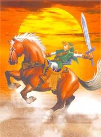 Link Riding Epona Sunset Artwork (Zelda: Ocarina of Time)