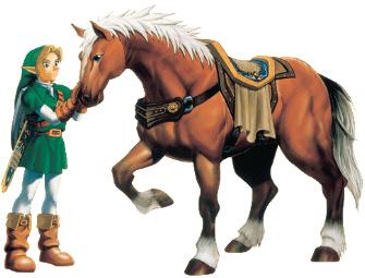 Link Pets Epona Artwork (Zelda: Ocarina of Time)