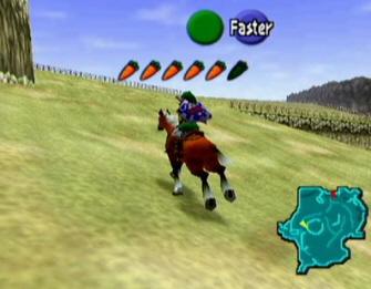 Link riding Epona (Zelda: Ocarina of Time screenshot)