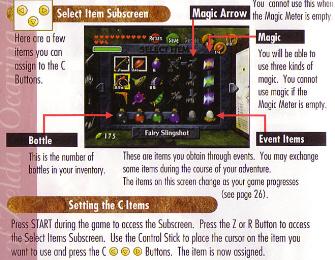 Zelda: Ocarina of Time Item Screen Scan Art