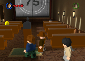 The theater room of Barnette College in Lego Indiana Jones (screenshot)