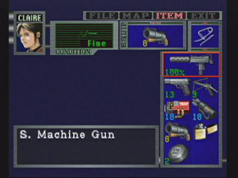 Resident Evil 2 Claire Inventory Screenshot