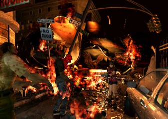 Resident Evil 2 Claire in the Raccoon City streets screenshot