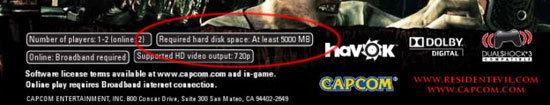 Resident Evil 5 will require a 5GB hdd install