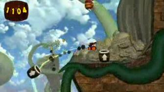 Donkey Kong Jungle Beat barrel cannons screenshot. New Play Control version