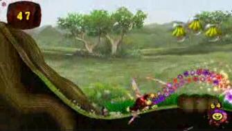Donkey Kong Jungle Beat flowers screenshot. New Play Control version