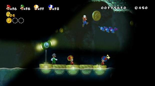 New Super Mario Bros Wii 4-player multiplayer co-op screenshot