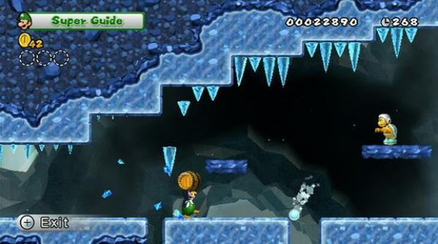 New Super Mario Bros Wii ice level screenshot
