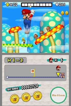 New Super Mario Bros. DS Star Coins Locations Level 1-3 screenshot
