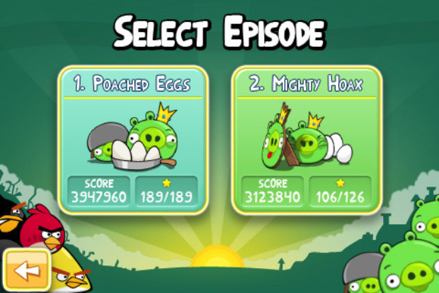 Angry Birds walkthrough screenshot mode select