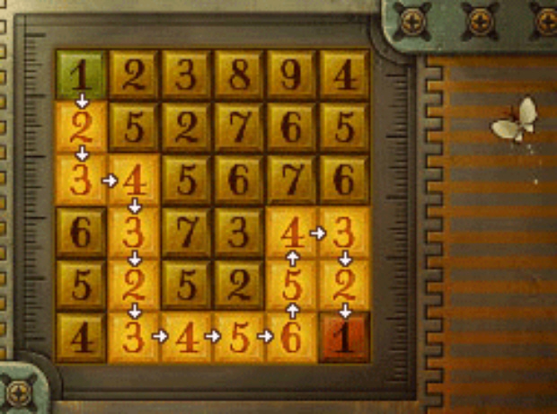 Professor Layton and the Unwound Future puzzle 113 One Step At A Time solution screenshot