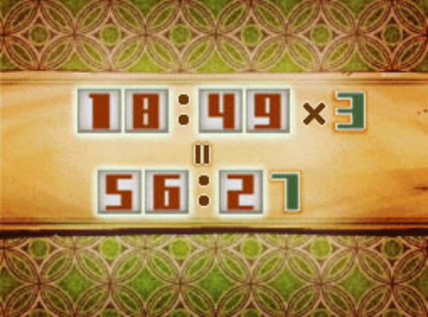 Professor Layton and the Unwound Future puzzle 163 Time Times Three solution screenshot