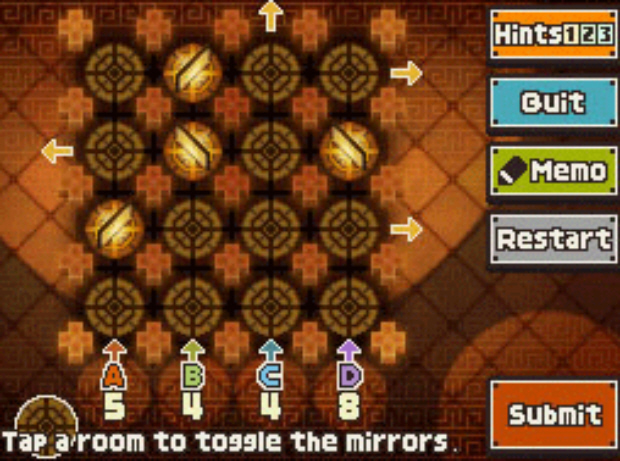 Professor Layton and the Unwound Future puzzle 93 Mirror Maze solution screenshot