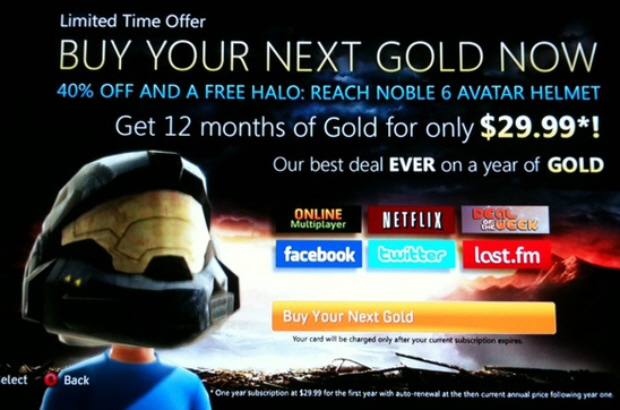 Year of Xbox Live Gold for $30 deal artwork from Dashboard