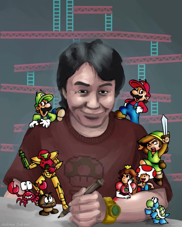 Miyamoto Nintendo characters drawing