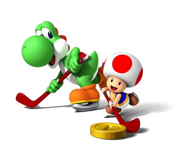 Mario Sports Mix Yoshi and Toad play Hockey