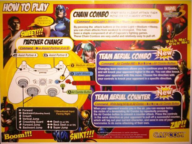 Marvel vs Capcom 3 controls how to play artwork