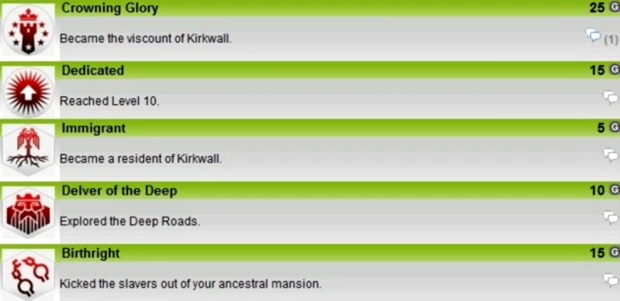 Dragon Age 2 Achievements list screenshot (Xbox 360)