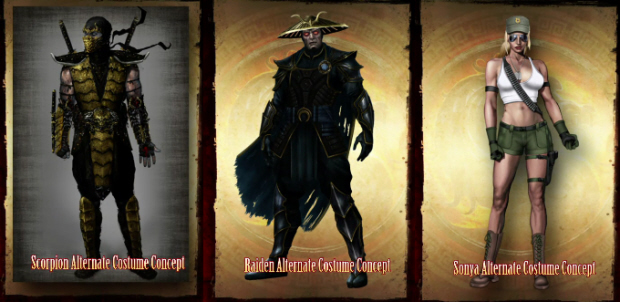 Alternate Costumes for Sony, Raiden and Scorpion