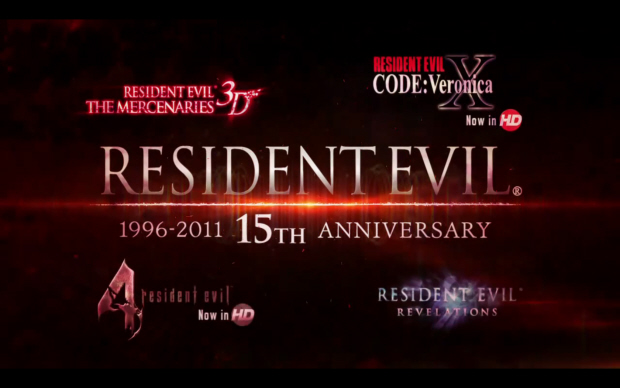 Resident Evil 15th Anniversary celebration. Upcoming games include Mercenaries 3D, Revelations on 3DS and Resident Evil 4 and Code Veronica HD