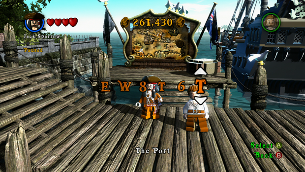 LEGO Pirates of the Caribbean Enter Code Menu Screenshot