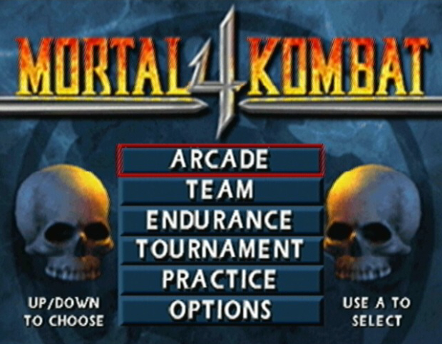 The Main Menu of Mortal Kombat 4