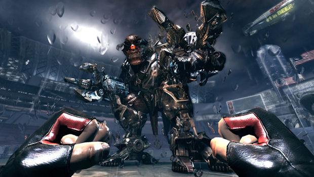 Cycloid boss battle screenshot from Duke Nukem Forever