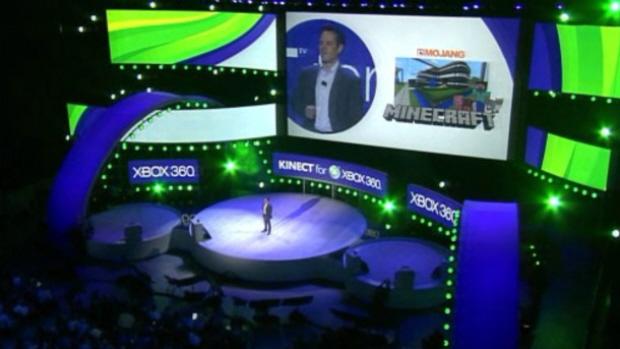 MineCraft for Xbox 360 announcement screenshot from E3 2011 at the Microsoft Pre-E3 Press Conference