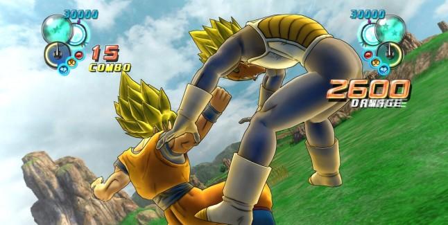 Dragon Ball Z Ultimate Tenkaichi characters screenshot of Goku and Vegeta
