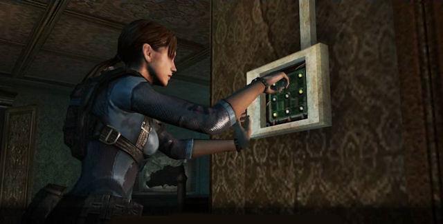 Jill solving a door puzzle