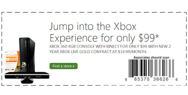 Xbox 360 Coupon: Console for 99 Dollars