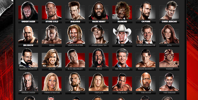 WWE 13 Characters Roster