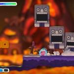 Kirby And the Rainbow Curse Lava Level Thwomps Gameplay Screenshot Wii U