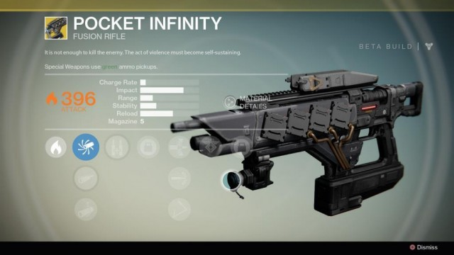 Destiny Pocket Infinity Exotic fusion rifle