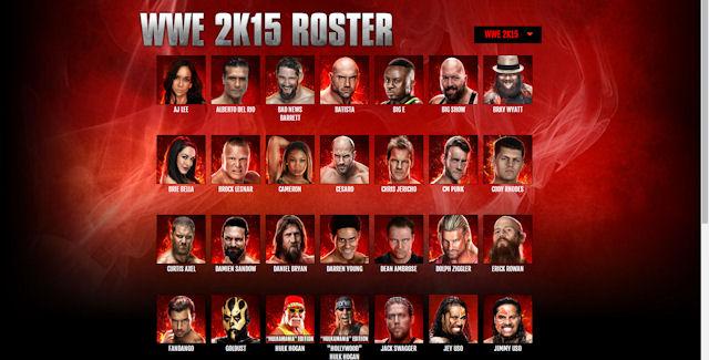 WWE 2K15 Roster List - 63.0KB