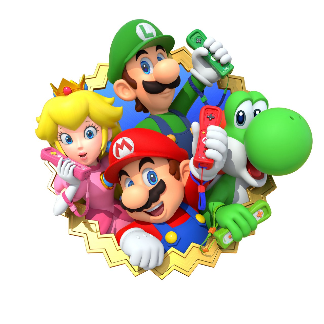 Colored cast - Mario Party 10 Cast With Colored Wii Remotes Artwork Official