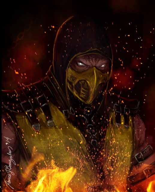Mortal Kombat X Wallpaper Scorpion Hellfire Fanart by Grapiqkad