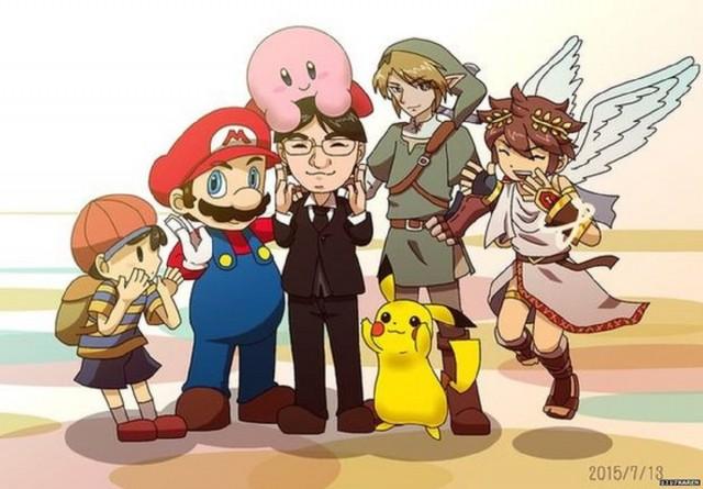 1217Karen's RIP Iwata Fanart Tribute With Ness Pit Mario Kirby Pikachu Link