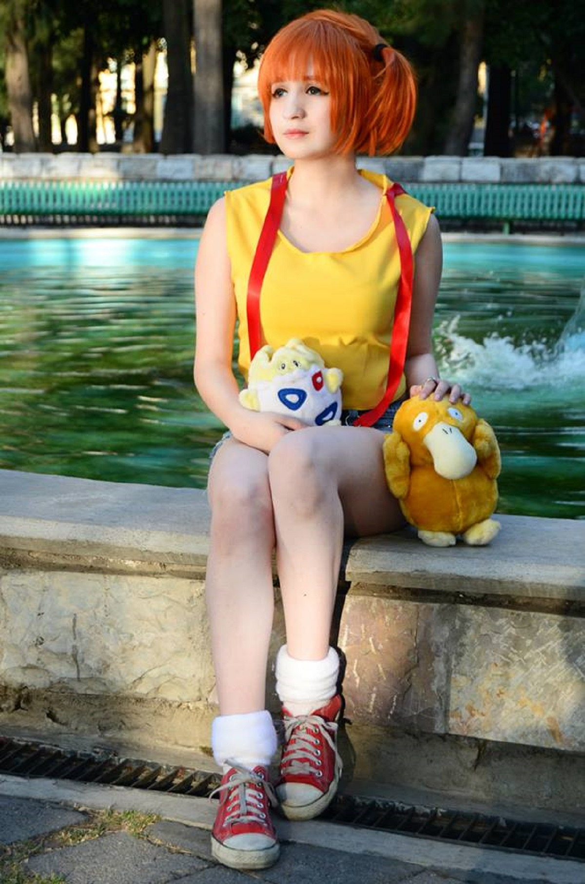 Misty Cosplay Water Fountain With Psyduck Togepi Starring ...