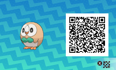 001 Pokemon Sun and Moon Rowlet QR Code