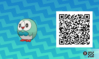 001 Pokemon Sun and Moon Shiny Rowlet QR Code
