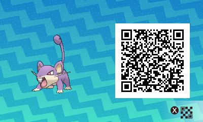 015 Pokemon Sun and Moon Male Rattata QR Code