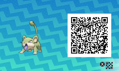 015 Pokemon Sun and Moon Shiny Female Rattata QR Code