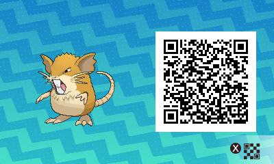 016 Pokemon Sun and Moon Male Raticate QR Code